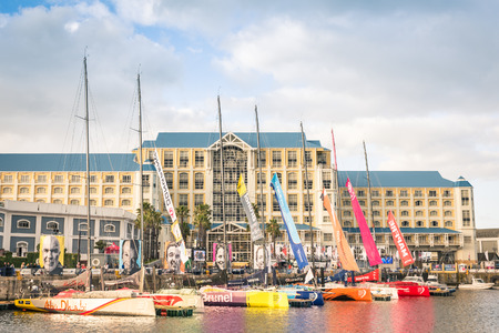 gusty: CAPE TOWN, SOUTH AFRICA - NOVEMBER 15, 2014: regatta sailing boats at the waterfront of Cape Town during the Volvo Ocean Race 2014 - 2015. The yacht race is held every three years around the world.
