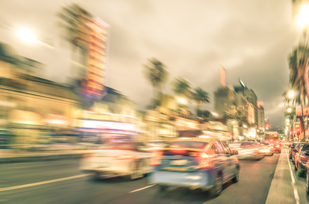 hollywood   california: Los Angeles - Hollywood Boulevard before sunset - Walk of Fame on a defocused vintage filtered look