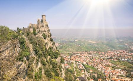 enclave: Rocca della Guaita - San Marino Republic - Rimini Romagna Italy Stock Photo