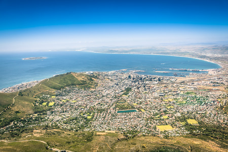 lookout: Aerial view of Cape Town skyline from lookout viewpoint - South Africa city tour - Trip excursion to panoramic view at modern seven nature wonder Table Mountain