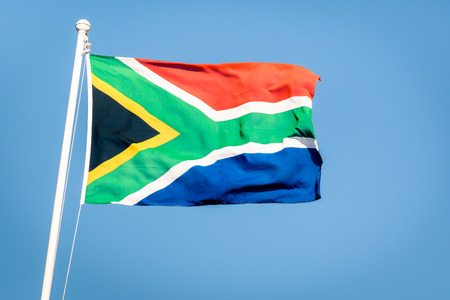 nelson: South african flag on a blue sky - Pride of the nation South Africa adopted on 27 April 1994 representing the new democracy