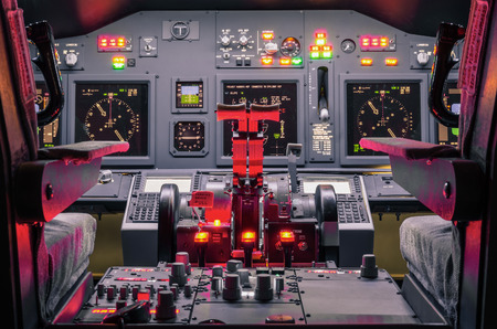 Cockpit of an homemade Flight Simulator - Concept of aerospace industry development - Flying simulation school for aviation learning pilots