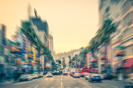 Los Angeles - Boulevard before sunset - Walk of Fame on a radial defocused vintage filtered look