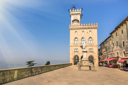san marino: Public Palace and Statue of Liberty in San Marino Republic