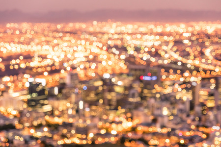 las vegas strip: Bokeh of Cape Town skyline from Signal Hill after sunset during the blue hour - South Africa modern city with spectacular nightscape panorama - Warm blurred defocused night lights
