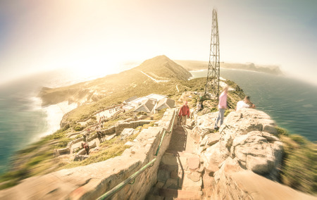 cape of good hope: Fisheye panorama of Cape of Good Hope near Cape Town in South Africa - Radial zoom defocusing with retro nostalgic filtered look