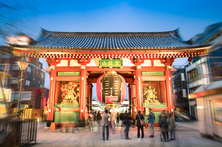 Kaminarimon in Tokyo Japan at temple of Senso-Ji in colorful district Asakusa east part of japanese modern capital - Religion concept as touristic attraction - Vintage filtered look with blurred edges Editorial