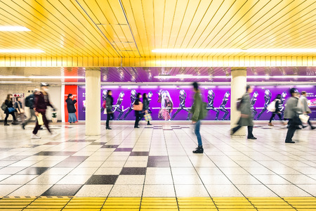 TOKYO - MARCH 2, 2015: corridor at underground area in Shinjuku. The combined subway network of the Tokyo and Toei metros counts 290 stations and 13 lines with over eight million passengers daily.