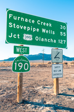 jct: Road sign in the Death Valley  Highway West 190