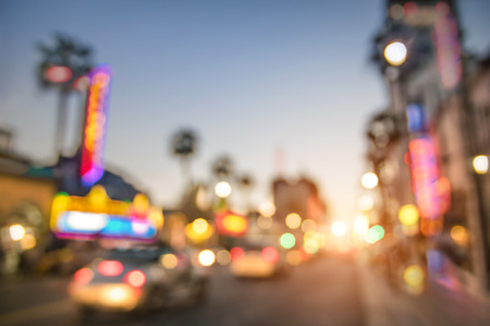 hollywood   california: Defocused blur of Hollywood Boulevard at sunset  Bokeh abstract view of world famous Walk of Fame in California  United staes of America wonders  Emotional saturated filter with powered sunshine