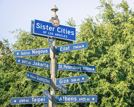 street name sign: Modern street sign of Sister Cities of Los Angeles Stock Photo