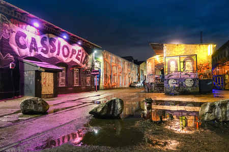 BERLIN, GERMANY - OCTOBER 21, 2015: street art graffiti on the wall of Cassiopeia club in the urban area of Friedrichshain in the former east part of german capital where most of pub crawls are based