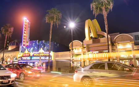 walk of fame: LOS ANGELES - MARCH 20, 2015: side view of world famous Hollywood Boulevard by night. In 1958, the Walk of Fame was created on this street as a tribute to artists working in entertainment industry
