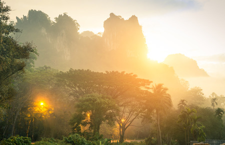 south east asian: Thick wild vegetation and mountains in Khao Sok national park forest at sunset - Wanderlust travel lifestyle adventure around south east asian Thailand wonders - Enhanced sunflare halo with misty haze