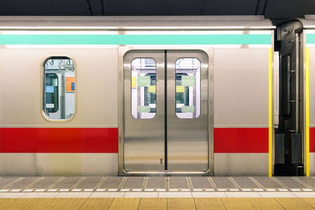 tokyo prefecture: Generic underground metro train in Tokyo Prefecture of Japan - Urban public transportation concept with subway vehicle in japanese capital city