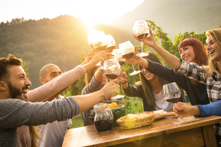 Happy friends having fun outdoors - Young people enjoying harvest time together at farmhouse vineyard countryside - Youth and friendship concept - Focus on hands toasting wine glasses with sun flare