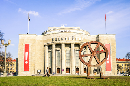 BERLIN, GERMANY - 4 MARCH 2016: front view of  world famous Volksbuhne theater at Rosa Luxemburg Platz - Designed by Oskar Kaufmann with the aim to offer at accesible prices the social realist plays Editorial
