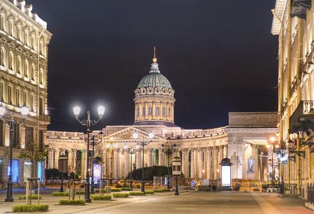 malaya: Kazan Cathedral on Nevsky Prospect from the side of Malaya Konushennaya street in world famous russian city of Saint Petersburg - Warm night color tones with main focus on building Stock Photo