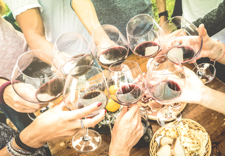 holiday gathering: Friends hands toasting red wine glass and having fun outdoors cheering with winetasting - Young people enjoying harvest time together at farmhouse vineyard countryside - Youth and friendship concept Stock Photo