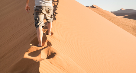 Lonely man walking on sand crest at Dune 45 in Sossusvlei desert - Wanderlust concept with hiker guy in namibian famous place - Adventure trip travel to african wonder in Namibia - Bright natural tone Stok Fotoğraf