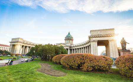 Wide angle front view of Kazan Cathedral from the side of Nevsky Prospect in world famous russian city of Saint Petersburg in Russia federation - Bright warm color tones with main focus on building