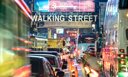 PATTAYA, THAILAND - FEBRUARY 18, 2016: beginning of famous Walking Street by night -The street runs from the south end of Beach Road to the Bali Hai Pier and is closed to the traffic after 6pm