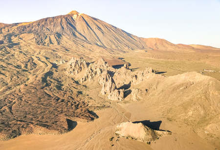 High angle aerial view of Teide National Park in Tenerife - Canarian world famous volcano - Wander concept with world nature wonder on unique wild landscape in Canary Islands