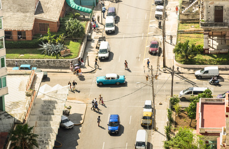 HAVANA, CUBA - NOVEMBER 19, 2015: bird eye aerial view of the old town of Havana capital of Cuba in latin america with everyday life people and traffic car vehicles 報道画像