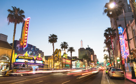 LOS ANGELES - MARCH 20, 2015: Hollywood Boulevard at sunset twilight with blurred light tracks - The Walk of Fame was created on 1958 as a tribute to artists working in the entertainment industry