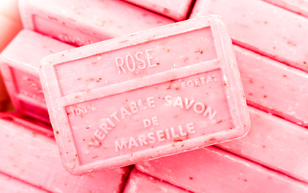 Marseille soap stacked bars - Handmade manufactures with organic oil of lavender flowers - Living coral filter Editorial