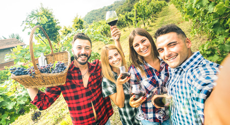 Young friends having fun taking selfie at winery vineyard outdoor - Friendship concept on happy people enjoying harvest together at farm house - Red wine bio production experience - Azure vivid filter Stock Photo