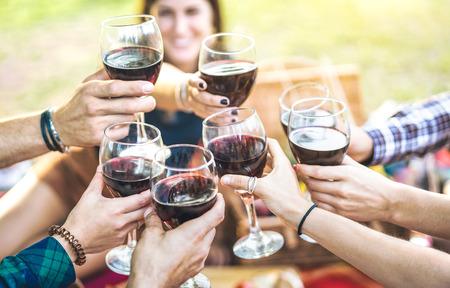 Mains grillant du vin rouge et amis s'amusant à applaudir à l'expérience de dégustation de vins - Jeunes profitant du temps de la récolte ensemble dans la campagne du vignoble de la ferme - Foucus sur des verres avec une femme floue Banque d'images