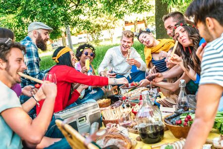 Happy friends having fun outdoor eating snack and drinking red wine at bbq picnic - Young multiracial people enjoying summer time together at barbecue garden party - Friendship concept on vivid filter Фото со стока - 148565666