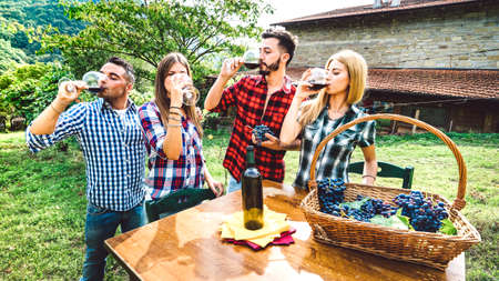 Happy friends having fun drinking at winery vineyard - Friendship concept with young people enjoying harvest together at farmhouse - Red wine tasting at indie experience outdoor - Vintage retro filter 스톡 콘텐츠