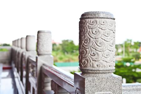 Decorative carved granite handrail