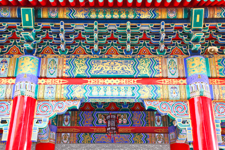 pediment: Colorful pediment of Chinese Temple, Thailand