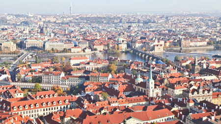Top view of Prague city in Autumn