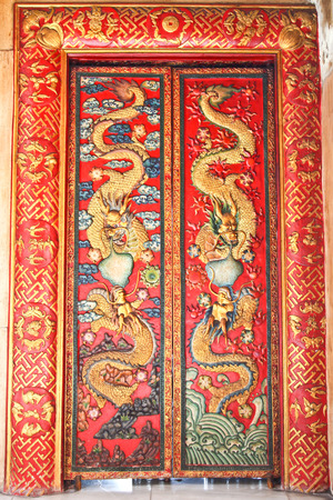 Antique Chinese decorated doors in Ayutthaya, Thailand