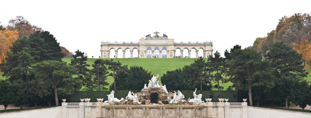 the gloriette: Gloriette and Neptune Fountain at Sch?nbrunn Palace in Vienna, Austria Editorial
