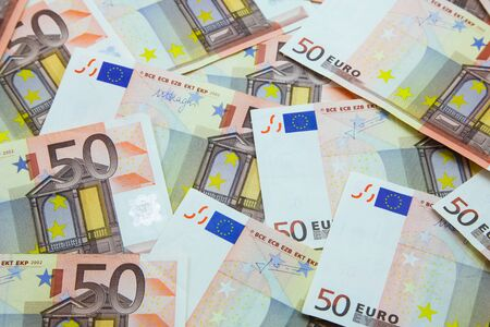 Pile of 50 Euro banknotes background