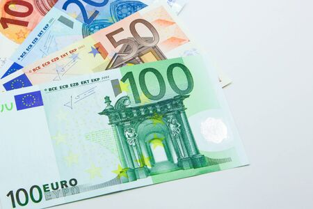 Isolated Euro banknotes in 10, 20, 50, and 100 Archivio Fotografico