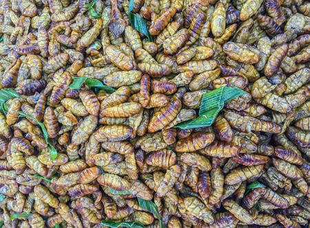 gusanos: gusanos fritos venden en el mercado.
