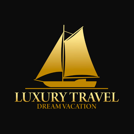luxury yacht: Luxury Dream Vacation Travel Logo