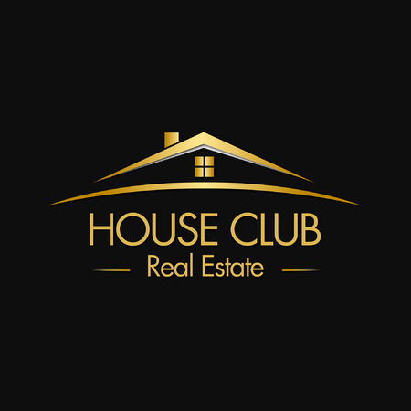 huis logo: House Club Real Estate Logo Stock Illustratie
