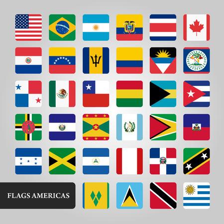 americas: Americas Flags Vector Icons Set Design