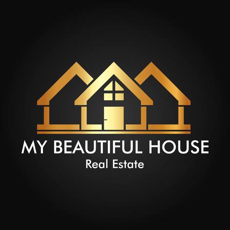 logos de empresas: Inmobiliaria, construcción y diseño de la insignia del vector de Inversiones