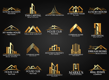 Set and Group Real Estate, Building and Construction Vector Logo