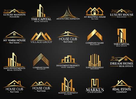 Set en Group Real Estate, Bouw en Constructie Vector Logo Stock Illustratie