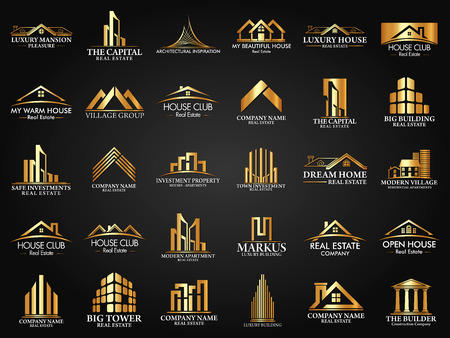 Big Set and Mega Group, Real Estate, Building and Construction Vector Иллюстрация