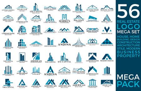 Big Set and Mega Group, Real Estate, Building and Construction Vector Ilustração